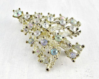 Vintage Rhinestone Christmas Tree Brooch Pin, Pastel Clear AB Rhinestone Crystals, Silver Christmas Tree Brooch, 1960s Costume Jewelry