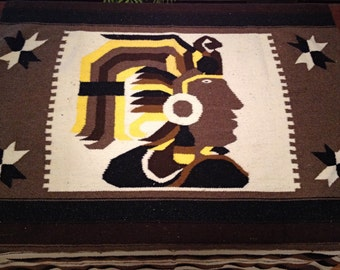 Native Woven Indian Chief Fringed Kilim  (46 x 87)