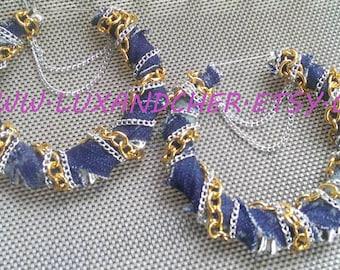 Denim, Jeans, Denim Earrings, Hoop Earrings, Statement Earrings, Gold Earrings, Chain Earrings, Bamboo Earrings, Gold Chain , Silver Chain