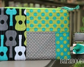 Zippy Zipper Pouch Case Guitars by Michael Miller Linen Cotton grey teal lime green black Stocking Stuffer