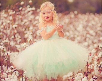 Flower Girl Dress, vintage mint and Ivory flower girl tutu dress
