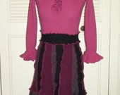 Upcycled Sweater Dress Ruffle Collar Rose Burgundy Black Pullover Tunic