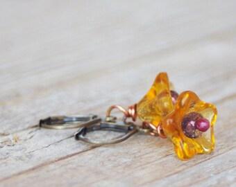 Amber Leverback Earring, Garden Flower, Nature Jewelry, Botanical