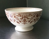 English Ironstone Brown and White Transferware Footed Bowl