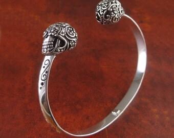 Sterling Silver Sugar Skull Cuff - Sterling Silver Day of the Dead Cuff - Silver Skull Bracelet