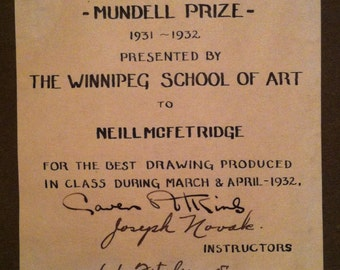 1932 Signed L.L. Fitzgerald of Group Of Seven Mundell Prize Charles Meryon Etchings Wonderful Piece of Canadianna