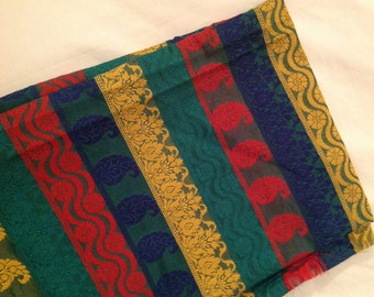 One yard of Indian silk brocade fabric in a striped pattern in green,red,yellow