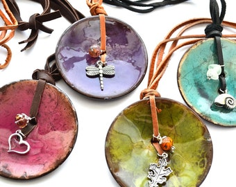 Deer Skin Long Necklace with Painted coconut Shell, Charms and Glass