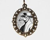 Plague Doctor Necklace, Black Death, Gothic Jewelry, Pandemic, Outbreak, Bubonic Plague, Oval Pendant