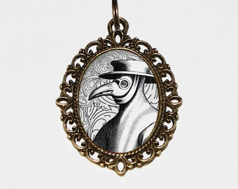 Plague Doctor Necklace, Gothic, Horror Jewelry, Black Death, Bubonic Plague, Virus, Bronze Oval Pendant