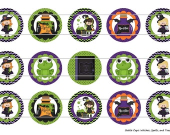 "15 Witches, Spells, and Toads 1 Digital Download for 1"" Bottle Caps (4x6)"