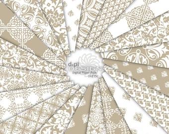 Beige Damask Digital Paper & Printable Background Images - Digital Tan Khaki Damask Scrapbook Paper for Weddings - Instant Download (DP215C)