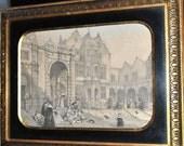 SALE 45% OFF Original Antique Engraving of Flemish Royal Courtyard, B Altman & Co, Art, Wood Frame, Gilt Black Old European Cities 18th c