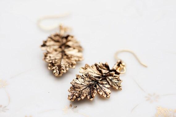 Antiqued Gold Leaf Earrings Autumn Leaf Branch Earrings Rustic Leaf Pendants Nature Leaf Fall Earrings - E101