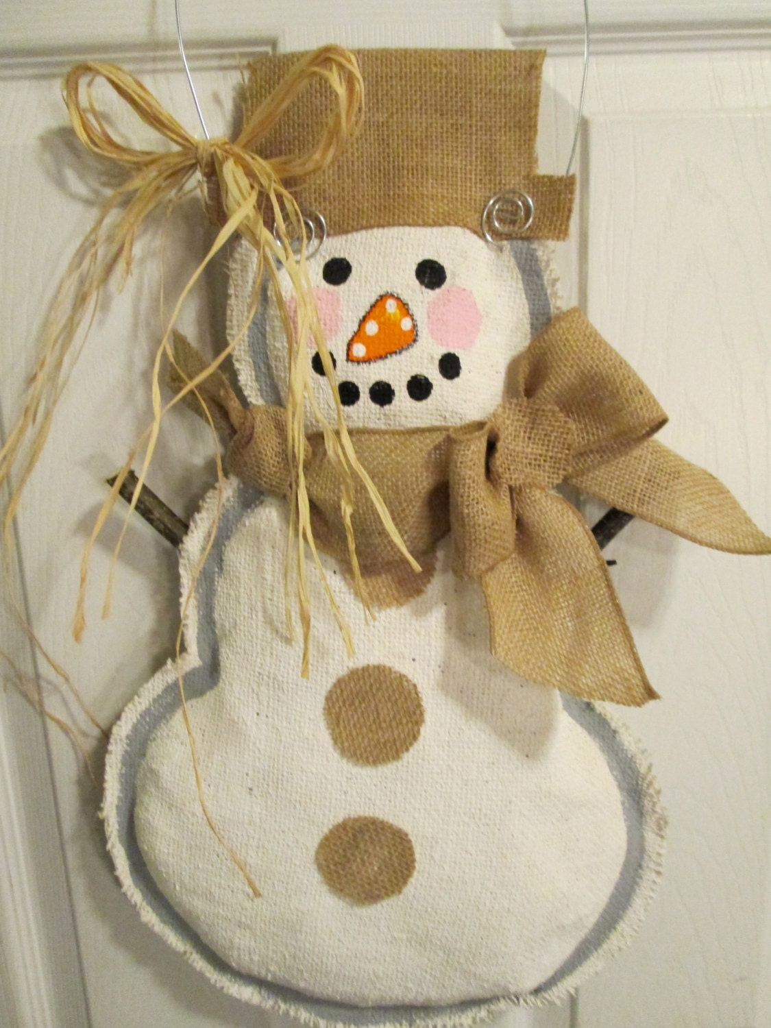 Ready to ship full body snowman burlap door hanger winter for Snowman made out of burlap