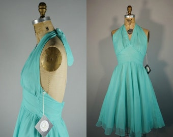 Teal Triste | Vintage 60s Dress | Sheer Chiffon Bombshell Halter Fit Flare New Look Party | XS