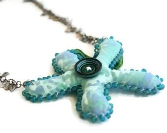 Statement Soft Sculpture Flower Necklace Beaded Batik Fabric Flower -  Aqua Tones