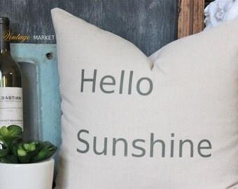 Pillow-Decorative Throw Pillow-Quote Pillow-Linen Pillow-Vintage Pillow-Modern Pillow-Hello Sunshine-Pillows-Pillow Cover-Bedroom Pillow