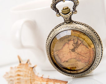 1pcs Large  The map Charms Pendant with chain /pocket watch/Bridesmaid , Christmas gifts, friends, children's gifts