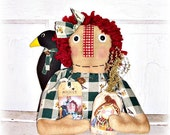 Fall Autumn Raggedy Annie Crow Sack Ornie Shelf Sitter Home Decor by FosterChildWhimsy