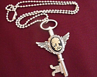 Silver Pendant Necklace, Gothic Steampunk Lolita Cameo Winged Key Necklace, Womens Gift  Handmade