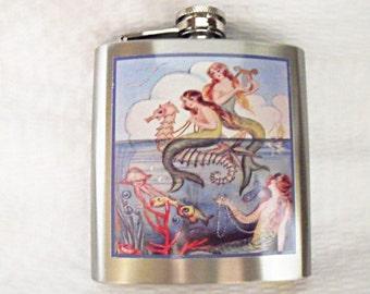 Flask For Women,   Vintage Mermaids on Sea Horses Image   6 ounce  Womens Gift  Handmade
