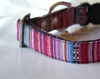 Tribal Pinstripe Woven Dog Collar - pink