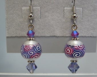 Pink and purple printed glass earrings with Swarovski crystal accents