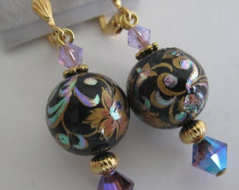 Black, purple, and gold floral earrings with Swarovski crystal