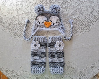 Shades of Grey Owl Crochet Hat and Leg Warmers - Photo Prop Set - Available in Newborn to Toddler Size - Any Color Combination
