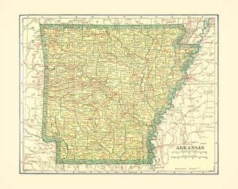 ARKANSAS STATE MAP  Instant Digital Download