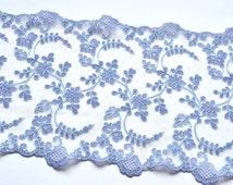 Blue Lace Trim, Trim, Sky Blue Embroidered Floral Trim, Double Edged Lace Trim, Lace Dress, Lingerie, Lace Decor