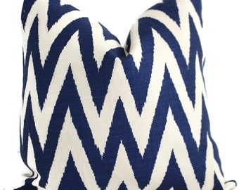 Ikat Chevron Pillow Cover, Quadrille Tashkent Royal Blue and Oyster, Square, Eurosham or Lumbar pillow, Accent Pillow, Throw Pillow, Toss