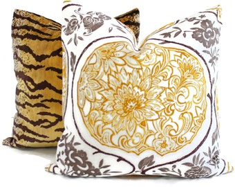 Schumacher Katsugi Gold and Mushroom pillow cover 18x18, 20x20 or 22x22, Eurosham or Lumbar pillow, Toss pillow, Throw Pillow, Cushion cover