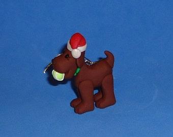 Polymer Clay Christmas Dog with Tennis Ball Ornament