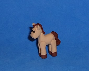 Polymer clay Little Tan and Brown Horse