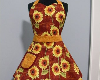WOMENS APRON-Harvest Sunflower Full Sweetheart Apron