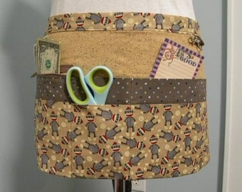 Teacher Aprons-Crafter Vendor Utility Apron-Sock Monkeys
