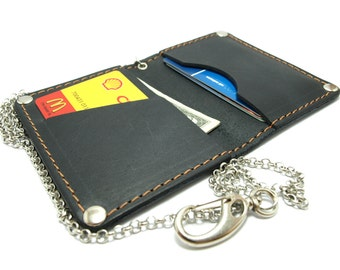 NEW convenient card holder / wallet from black leather  card holder/ ID card  business cards and cash free initials with chain bike wallets