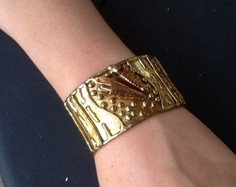 Brutalist wide Cuff bracelet Artisan signed Calla Lily Taxco Mexico