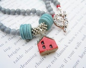 Beaded Jade Red Ceramic House Necklace Gift