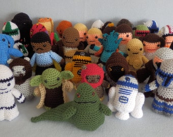"Made to order, Hand crocheted Star Wars like Complete set of 34 Dolls 4 - 7"" Tall Yoda, Darth Vader, Obi, Luke, Han, Chewbacca etc."