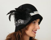 Black winter cloche, womens 20 felt hat, Miss Fisher hat , Phyrne hat, Downton Abbey , unusual hat Israel Rana Hats