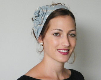 FREE SHIPPING Elegant blue headband,  Dressy silver hair band,  Grey hair accessory , modest headwear by Rana Hats Israel