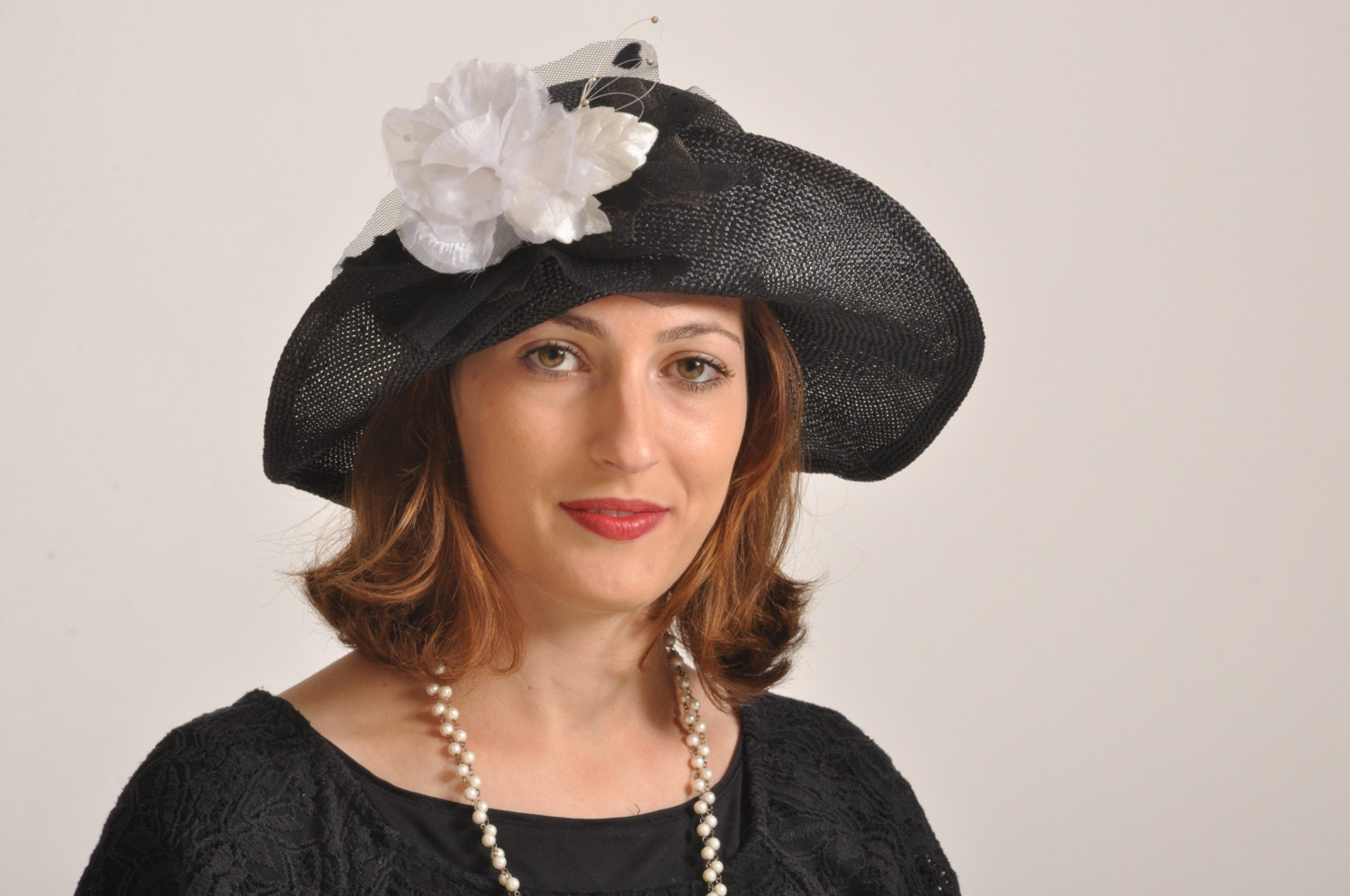 black 30 s style hat vintage style womens hat by ranahats