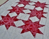 Table Mat - Table Topper - Mini Quilt - Snowflakes - Red - White - Geometric Stars - Hand Quilted - Winter - Christmas - Home Decor - BICOFG