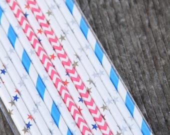 Mix di 25 cannucce sui toni dell'oro/argento/rosso/azzurro - 25 Mix Party Paper Straws