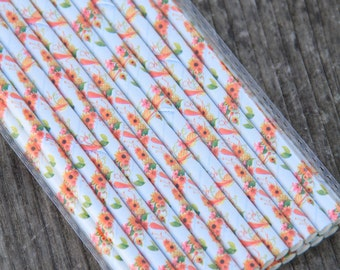 25 Floral Paper Straws