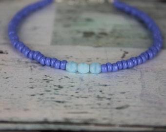 Periwinkle/Light Blue Beaded Bracelet