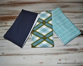 Baby Boy Burp Cloths - Navy Aqua Teal Boutique Boy Burp Cloth Set - Modern Baby Boy Burp Cloths Best Burp Cloths Premium 6 Ply